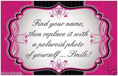 PHOTO BOOTH SIGN CARD PROP wedding engagement birthday black hot pink guest book
