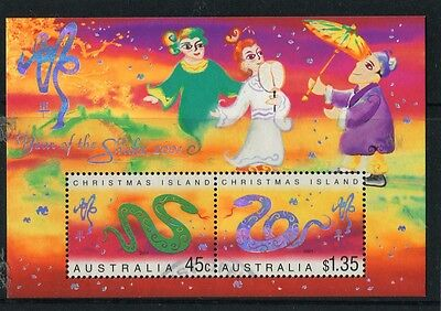 2001 Christmas Island Year Of The Snake Mini Sheet Fine Postal Used