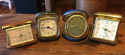 4 Vintage German Travel Alarm Clocks