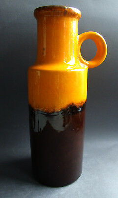 German SCHEURICH Keramik Vase 401-28 fat lava vtg. retro midcentury orange brown