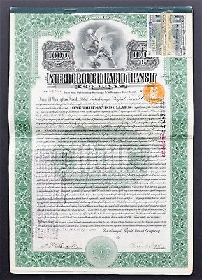 USA - Interborough Rapid Transit Company (NY SUBWAY)- 1913 - 5% bond 1000 dollar