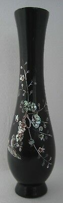 Antique CHERRY BLOSSOMS Chinese (Korean) Dynasty WOOD wooden INLAY LACQUER VASE