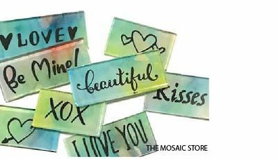 Glass Handmade Word Tiles (Set 1) - Mosaic Tiles Supplies Art Craft