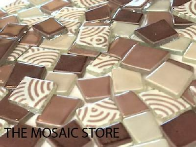 Pink Brown Irregular Patchwork Glass Tiles - Mosaic Tiles Supplies Art Craft