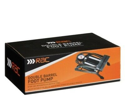New Double Barrel RAC Foot Pump  Suitable For Cars Balls Bicycle Tyres And Toys