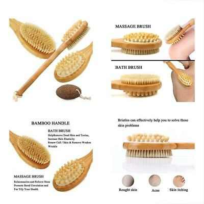 2 in  1 Bath & Body Brushes In Premium Natural Bamboo With Long Handle