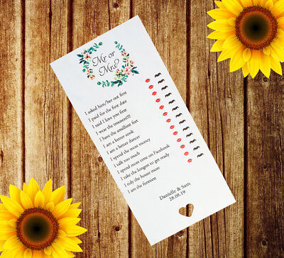 Personalised Wedding Mr or Mrs x12 Cards Table Game Favour I Spy Adult MM4