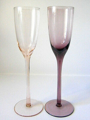VINTAGE COLOURED GLASSWARE PAIR of PINK & PURPLE CHAMPAGNE GLASSES 24CM TALL