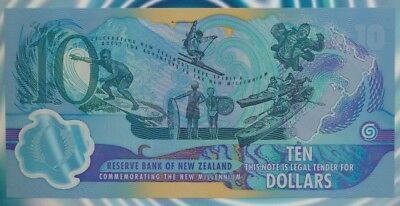 New Zealand 2000 $10 Res Bank Large Format Folder P-190b Red Serials NZ