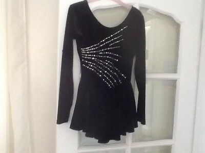 Girls Ice Skating Dress Black With Diamond Front By Jenetex Size 4 Fit Age 14