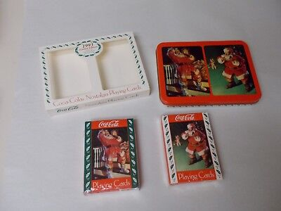Coca Cola Holiday Playing Cards 2 Sealed Decks in Tin - 1993