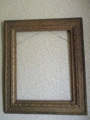 Antique Gold Wood Arts & Crafts Picture Painting Frame - Mission