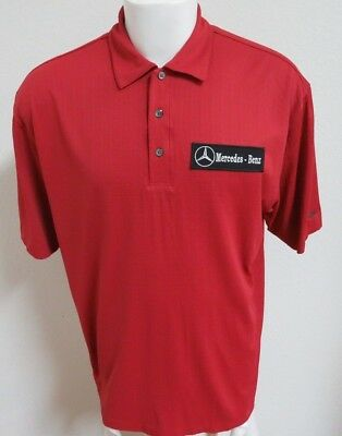 Sz L Brick Red Tiger Woods Nike Mercedes-Benz MEN Polyester #A42 Golf Polo Shirt