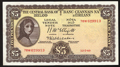 Central Bank of Ireland, Five Pounds 1960. Last Sterling date. Good Very Fine
