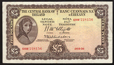 Central Bank of Ireland, Five Pounds 1956. Last Sterling type. Very Fine