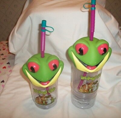 2 Rainforest Café Tree Frog Drinking Souvenir Cups With Straws