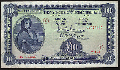 Currency Commission Ireland £10 Ten Pound Note 1941 war code E. AVF