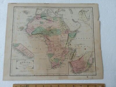 VTG MAP AFRICA Cornell's Geography 1855 Greece Turkey Persia India