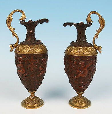 Pair 19thC. Finely Detailed French Patinated & Gilt Bronze Ewers Putti Antique
