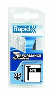 Rapid High Performance No.8 Galvanised Steel Brad Nails, Wire Length 25 mm, 401