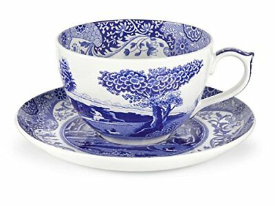 Blue Italian 0.56 Litre Porcelain Jumbo Cup and Saucer, BlueWhite