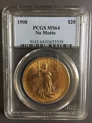 1908 PCGS MS64 No Motto $20 Gold St. Gaudens
