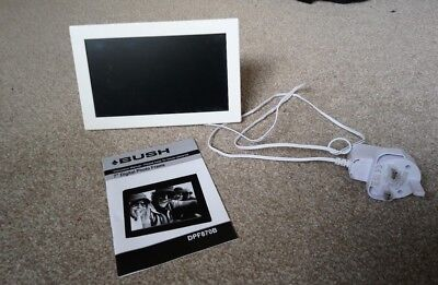 7a39ddb85bb6 Bush 7 Inch USB SD Digital Photo Frame in white with manual   charger  DPF8870B