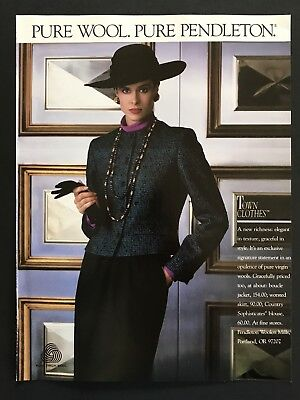 1990 Vintage Print Ad PENDLETON Pure Wool Woman's Fashion Image