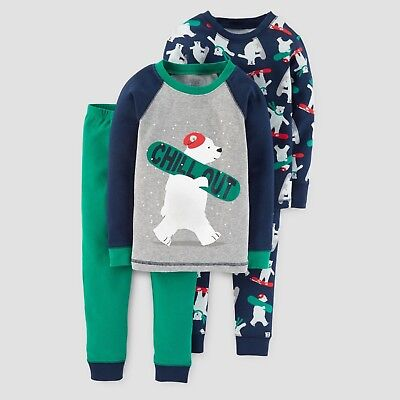 e0601610cdd1 JUST ONE YOU Made By Carter 2t Boys 4 Piece Polar Bear Pajamas ...