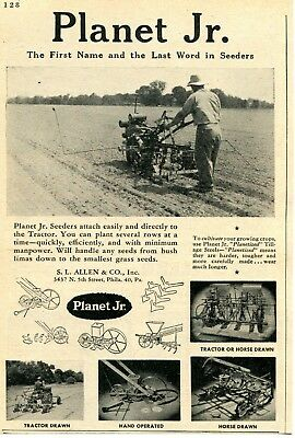 1947 small Print Ad of SL Allen & Co Planet Jr Tractor Seeder