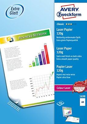 Avery Zweckform Paper for Colour Laser Satinised White DIN A4 120 gm 200 Sheet