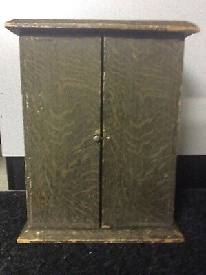 """Vintage Doll Trunk Balsa ? Wood Wardrobe Carry Case Armoire Cabinet 15"""""""