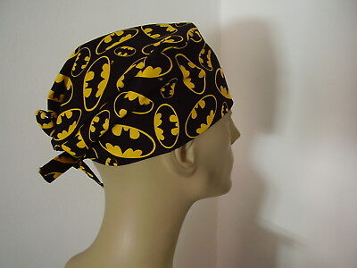 Surgical Scrub Cap/Hat Tieback - BATMAN LOGO - Handmade- One size - Men Women