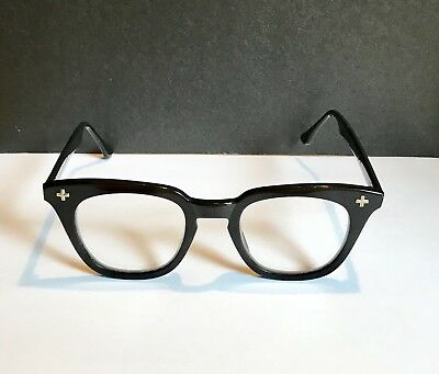 59fe0cc599f VINTAGE Bausch Lomb Safety Glasses 48 22 Horn Rim Black-Good Condition-