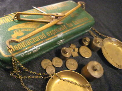 c1849 California Gold Rush Miners Scale Tin Box Balance Scale Oz Gr DWT Weights
