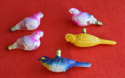 ☆ Beautiful Vintage   Set  Of Parakeets Christmas Ornamental  Lamps Bulb   ☆