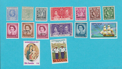ST LUCIA GOOD LOT OF 15 MH STAMPS.lot#73