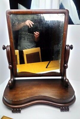Antique Victorian Mahogany Swing Toilet Mirror Large Wooden Vintage
