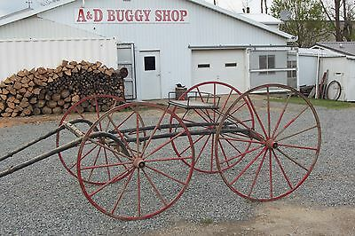 Horse Drawn 4 Wheel Racing Buggy Wagon Carriage Sleigh Cart Antique