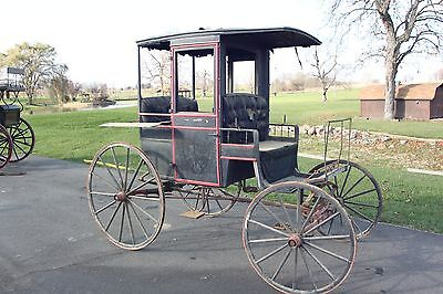 Horse Drawn Rockaway Wagon Buggy Carriage Cart Antique Sleigh