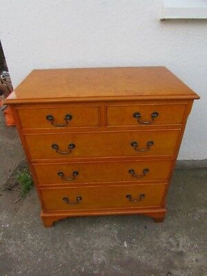 Brights Of Nettlebed Burr Satinwood Chest Of Drawers, Georgian Style