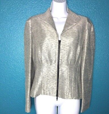 Lafayette 148 Blazer Jacket Metallic Silk Blend Ribbed Zip Stretch Size 4 $598