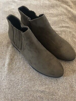New Look Khaki Ankle Boots Size 7 Wide Fit