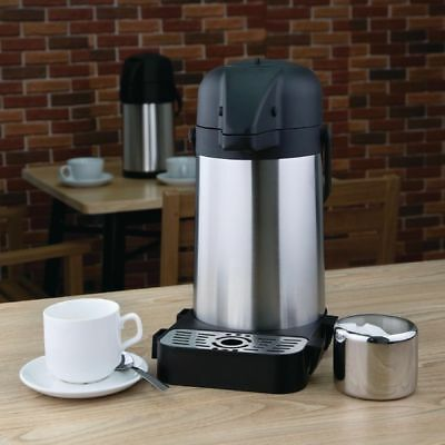 3Litre Steel Air Pot Pump Action Insulated Vacuum Thermal Flask Jug With Tray 3L