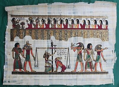 Amun & Isis Hand Painted Egyptian Art on Papyrus #13 Weighing Room NEW