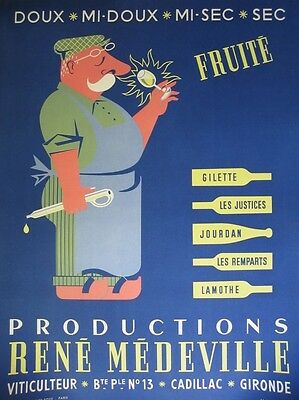 Vintage 1950's French Poster for Wine