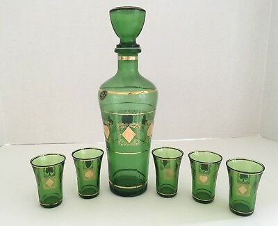 Italy Green Glass Decanter with Five Shot Glasses Playing Card Suits