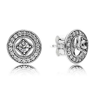 Genuine PANDORA Sterling Silver Earrings S925 ALE VINTAGE ALLURE STUD 290721CZ