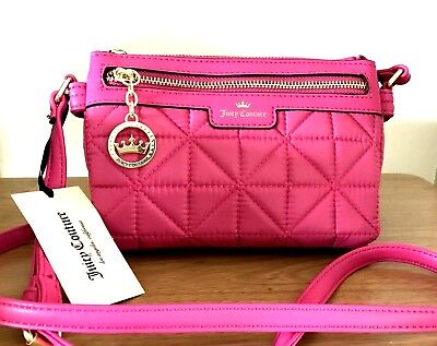 62e5ae5efc JUICY COUTURE Quilted Crossbody Bag Crown Jewel Flamingo Pink NWT Orig $49