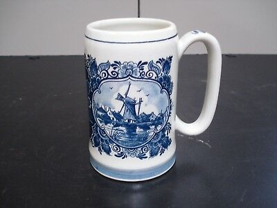 Vintage 1977 Delft's Blue Distel Hand Painted Beer Stein Made in Holland MINT!